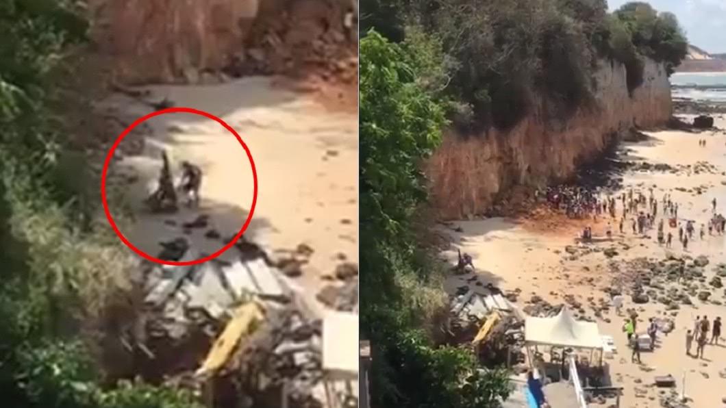 遊客全上前救援,但仍無法救回一家人。(圖/翻攝自推特) 懸崖崩裂全家遭活埋!母斷氣仍「緊抱7月嬰」不放手