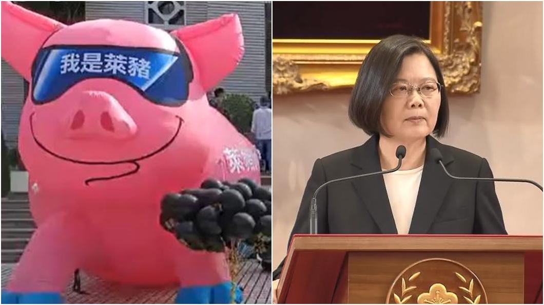 (圖/國民黨立院黨團臉書、TVBS資料畫面) 搬巨型萊豬嗆爆小英 江啟臣轟:在野喊謙卑、執政武則天