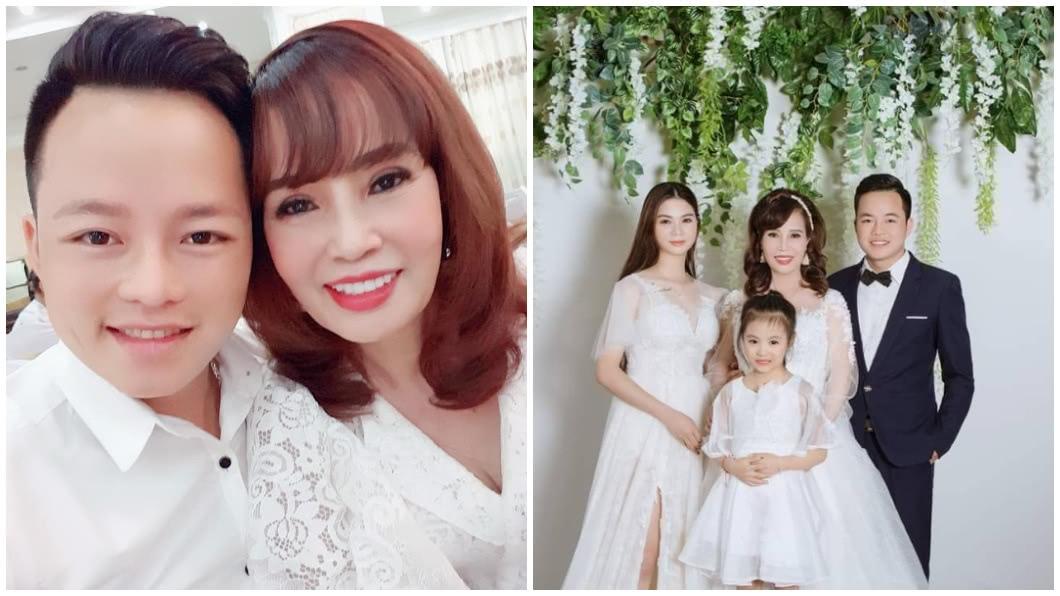 越南一對相差36歲的「嬤孫戀」夫妻,引發當地網友熱烈討論。(合成圖/翻攝自臉書) 甜嫁小36歲鮮肉2年狂放閃 64歲嬤變超正網驚呆