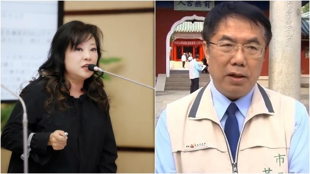 (圖/翻攝自陳秋萍臉書、TVBS資料畫面) 無法無天!市府職員嗆議員「去吃大X」 黃偉哲道歉