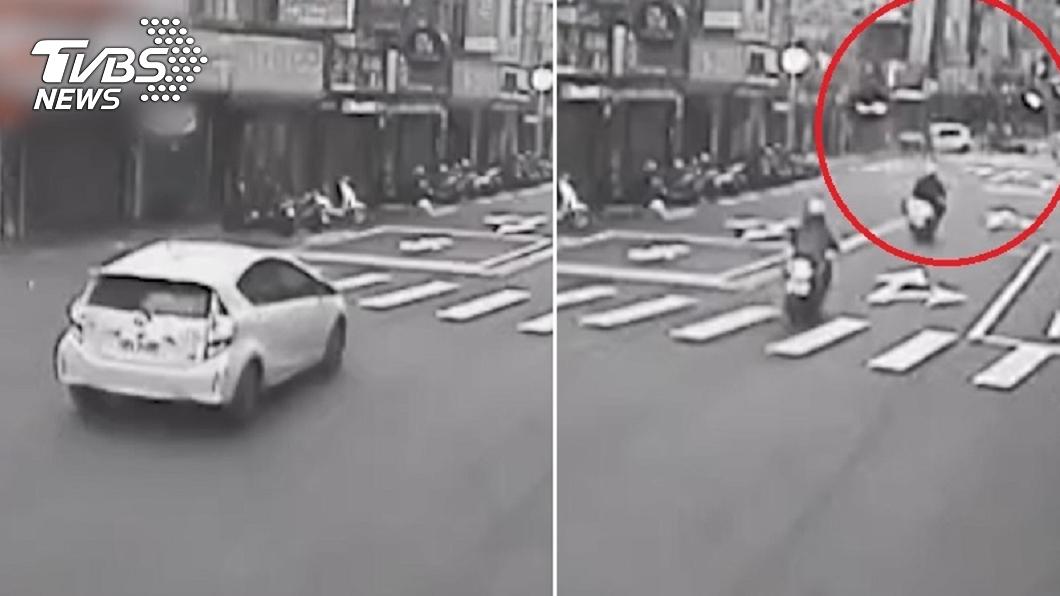 (圖/TVBS) 租賃車失控逆向亂撞彈飛 「路人慘命危」男子竟開溜