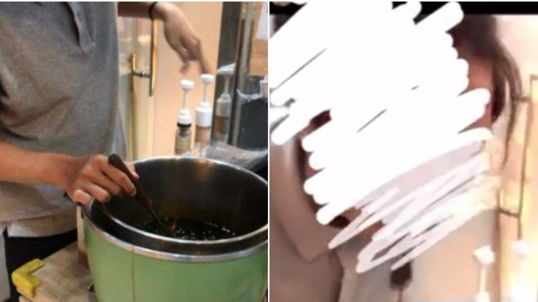 員工打開電鍋並用湯勺將珍珠舀進口中。(圖/翻攝自「爆料公社」) 手搖飲店員「試吃珍珠吐回鍋裡」!影片流出網全喊:太噁