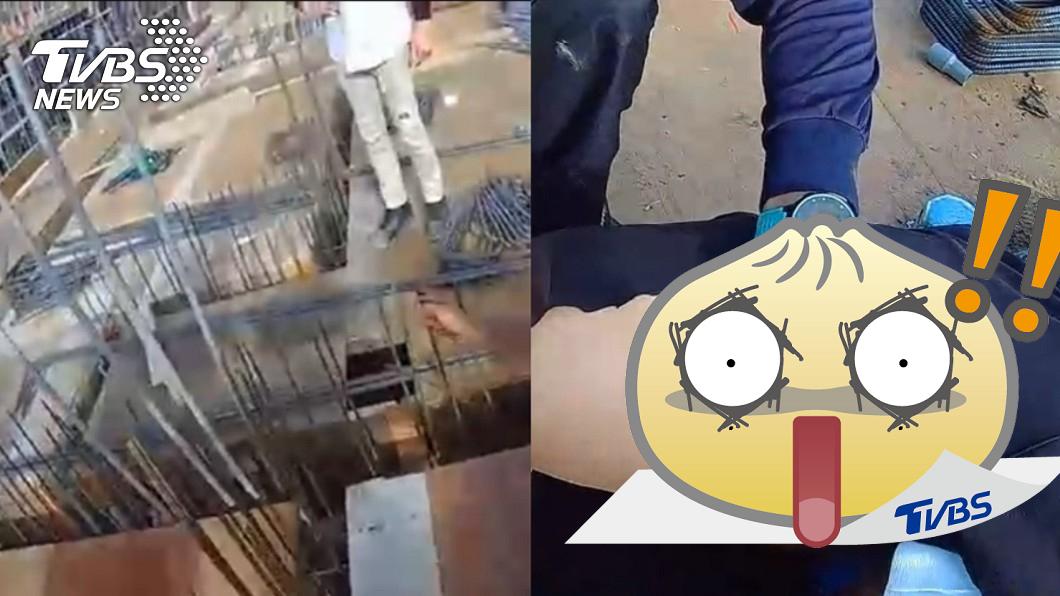 男子的陰囊慘被鋼筋貫穿。(圖/TVBS) 生鏽鋼筋貫穿「子孫袋」!24歲鐵工踩破模板 跌坐痛爆
