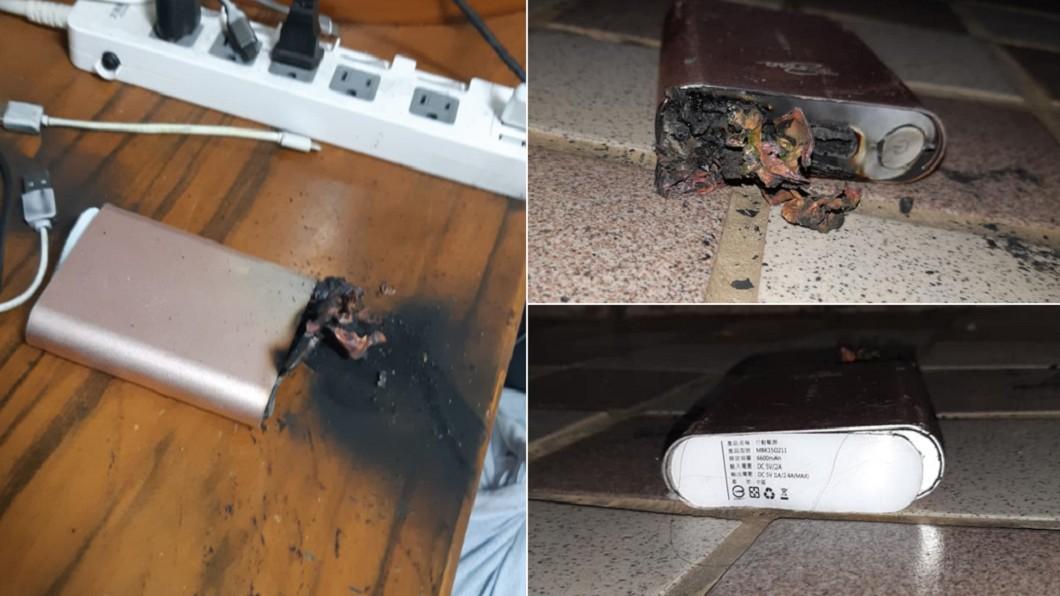 女網友PO出差點釀成火災的行動電源。(合成圖/翻攝自「爆怨2公社」) 全家熟睡嘸人知!行動充突爆炸燒木桌 女被嘎嘎聲吵醒救命