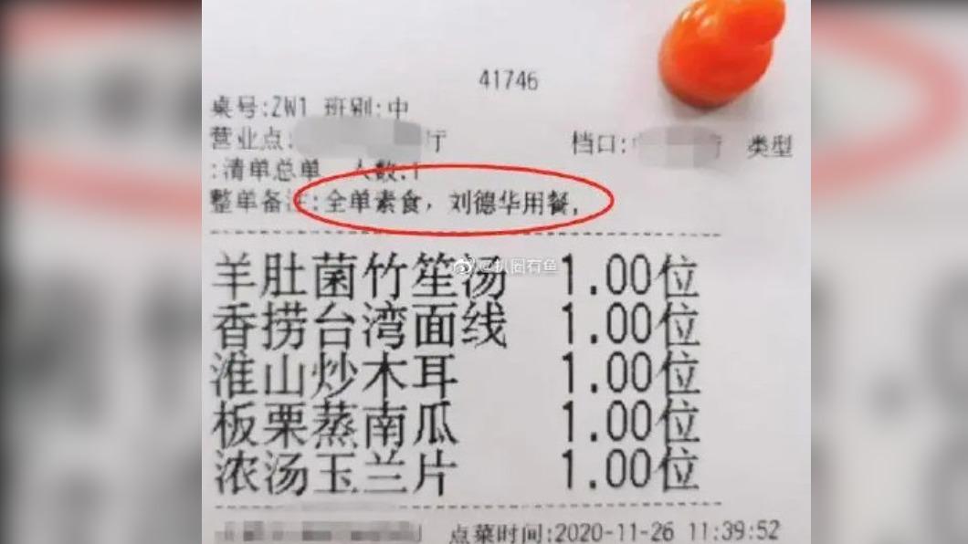 網上流傳劉德華叫外賣的菜單明細。(圖/翻攝自微博/扒圈有魚) 不愧天王!59歲劉德華「養生菜單」曝光 網友跪了