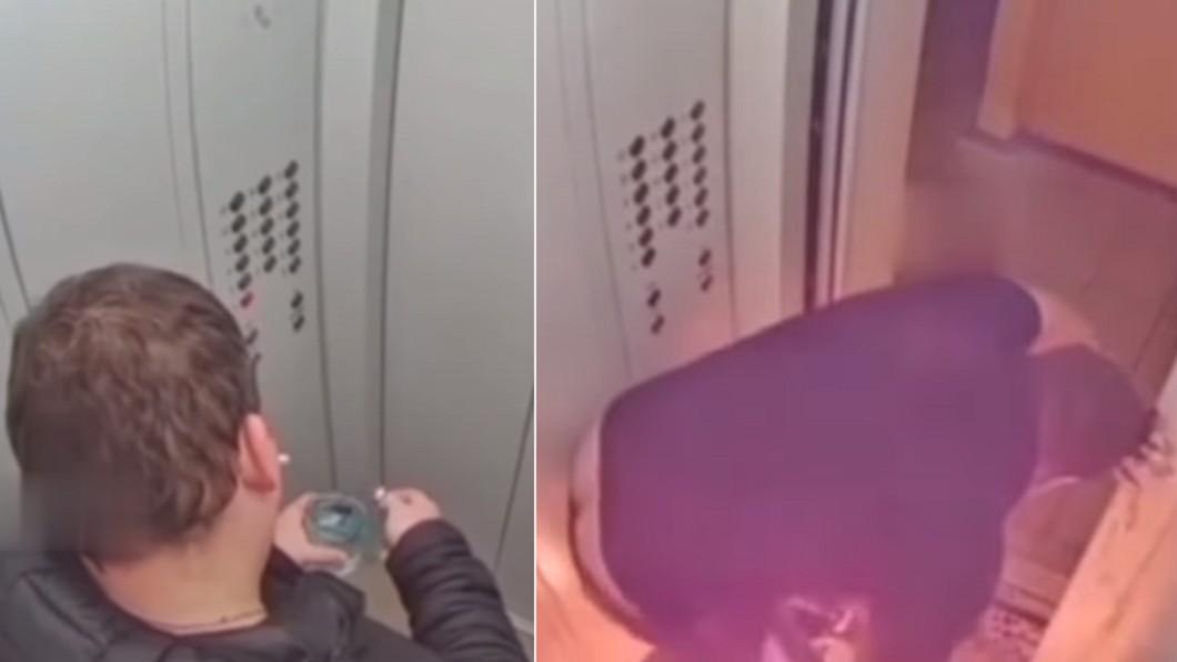 男子在電梯內點燃酒精遭火噬。(合成圖/翻攝自Vlad Orza YouTube) 電梯內點火遭噬60秒! 男無處逃「慘趴地上手燒焦」