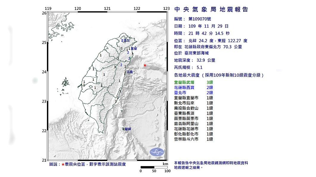(圖/翻攝自中央氣象局) 地牛翻身!21:42規模5.1強震 最大震度宜蘭3級