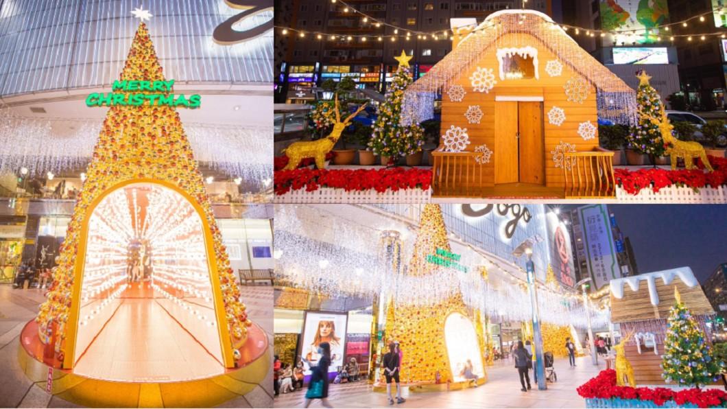 SOGO百貨在忠孝館1樓廣場前,打造2座高達12公尺的耶誕樹。(合成圖/翻攝自SOGO 百貨臉書) 暖金耶誕樹現身東區 美照打卡加碼送「牛奶巧克力」