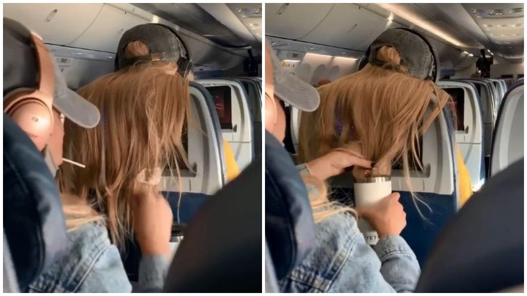 美國一名女子搭機時不滿前座女乘客的頭髮遮住她前方的螢幕,因此採取報復。(合成圖/翻攝自抖音) 女搭機長髮擋後座螢幕 她「髮尾黏口香糖浸咖啡」報復