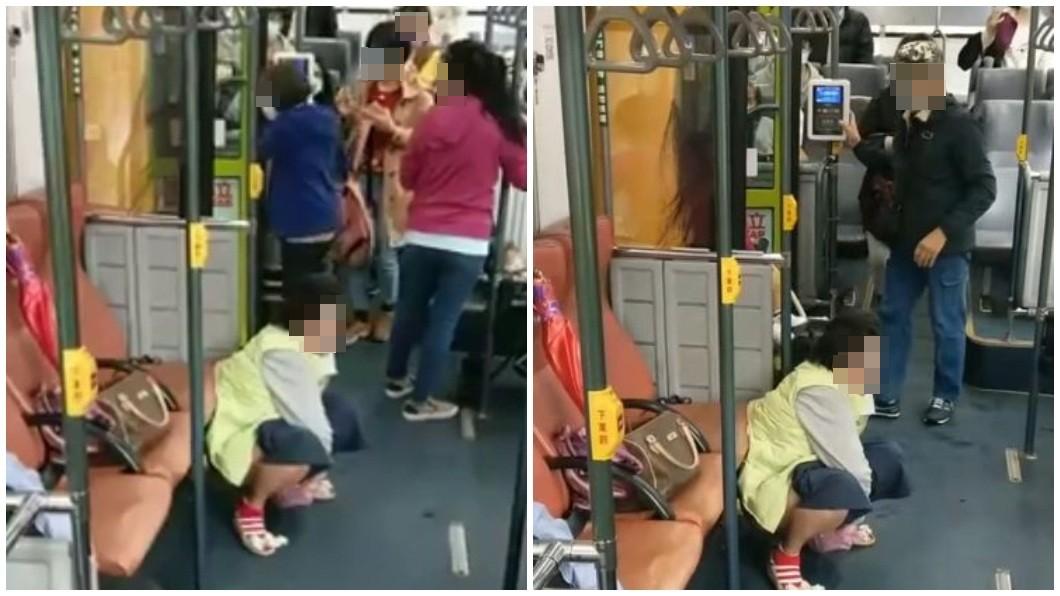 北市299路公車有一名大媽不知什麼緣故,直接在車內當眾脫褲解放,其他乘客見狀驚訝不已紛紛下車。(圖/翻攝自臉書社團爆料公社公開版) 大媽在299公車博愛座前「脫褲解放」 乘客嚇壞全下車
