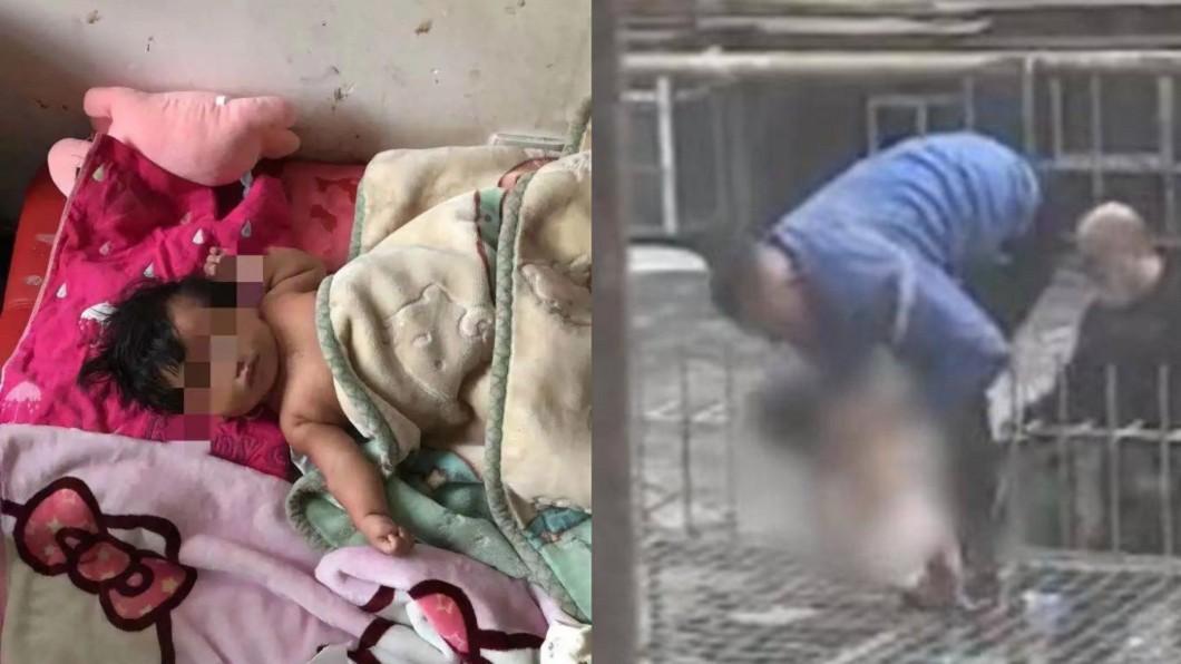 女嬰慘遭母親扔下樓。(合成圖/翻攝自新京報、南方都市報) 女嬰慘遭5樓丟下 莽父「拒絕治療」:回家睡一下就好