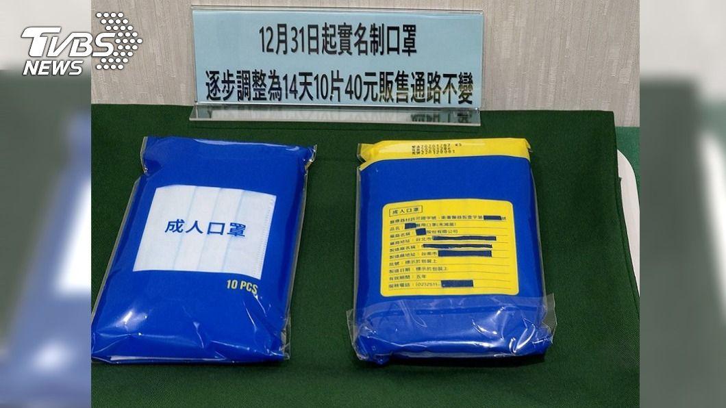 指揮中心今(9)日宣布,未來實名制口罩將由廠商統一包裝。(圖/TVBS) 實名制口罩14天10片40元 藥局12/31搶先開賣