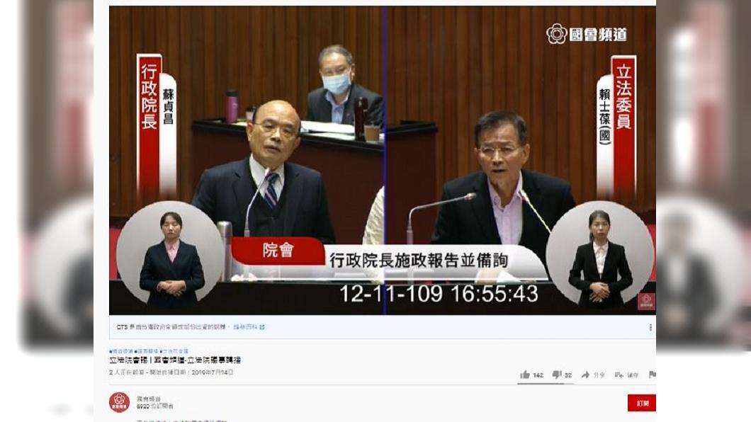 (圖/翻攝自國會頻道YouTube) 何時和蔡英文首談進口萊豬? 蘇貞昌鬆口回應