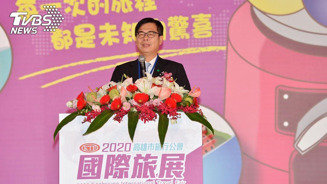 高雄市長陳其邁表示,歡迎全台民眾來高雄旅遊,感受溫暖熱情。(圖/中央社) 高雄國際旅展熱鬧登場 近400個攤位參展搶客