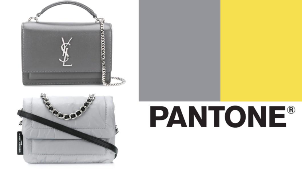 Pantone公佈2021年代表色「 亮麗黃」和「極致灰」。(合成圖/翻攝自farfetch網站、Pantone臉書) 2021年度代表色出爐 5款「極致灰美包」迎新超百搭