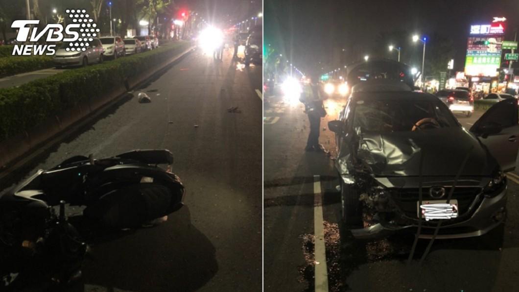 。(合成圖/TVBS) 高雄嚴重車禍!機車沒待轉被撞飛 一男一女命危