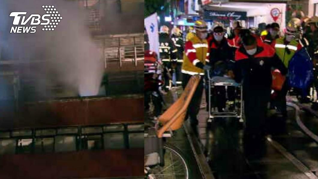 台北市大安區一棟大樓發生火警。(合成圖/TVBS) 黑煙狂竄!北市國父紀念館旁大樓火警 老夫妻1死1命危