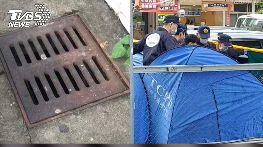 台中西屯區一處七期豪宅水溝發現男性遺體。(圖/TVBS) 「45歲男通緝犯」陳屍台中豪宅水溝 工人掀蓋見蛆嚇呆