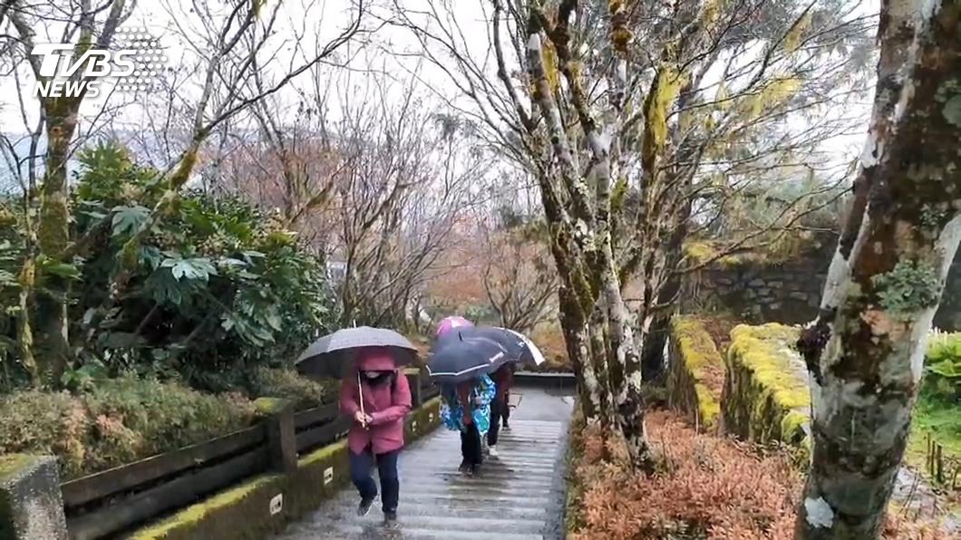 太平山時常能在冬天看見雪景。(圖/TVBS) 寒流來襲 宜蘭太平山莊下午2時後禁止遊客前往