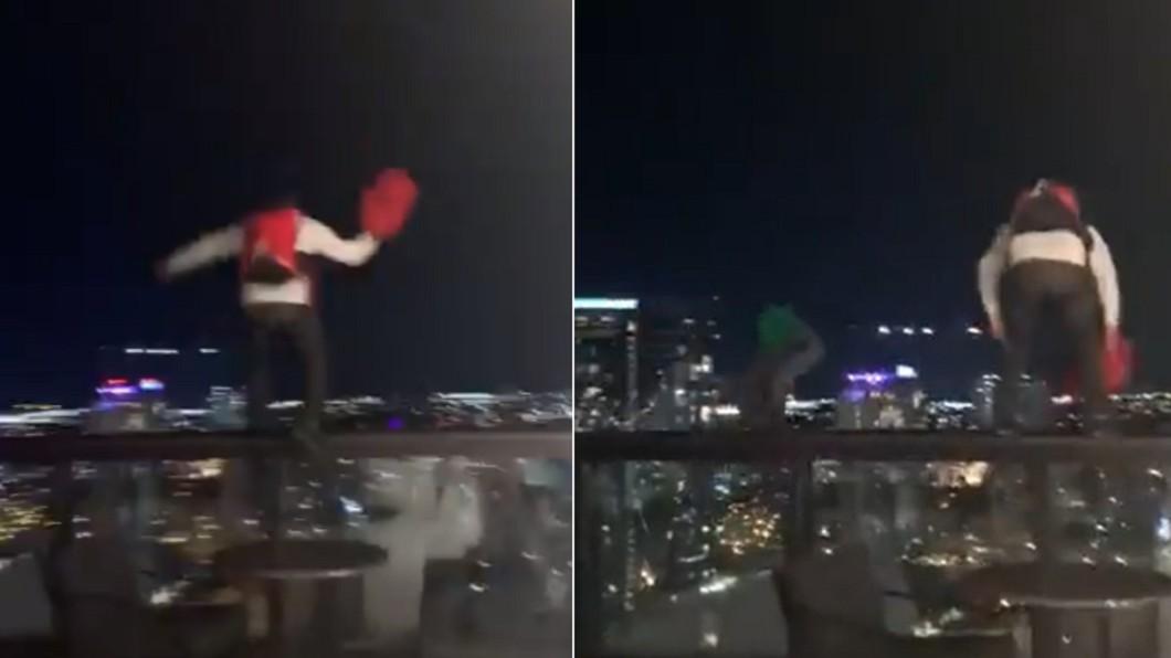 2名男子眾目睽睽下「跳樓」。(合成圖/翻攝自AmandaReality推特) 2男直衝飯店頂樓「跳下去」 路人目擊尖叫下秒超傻眼