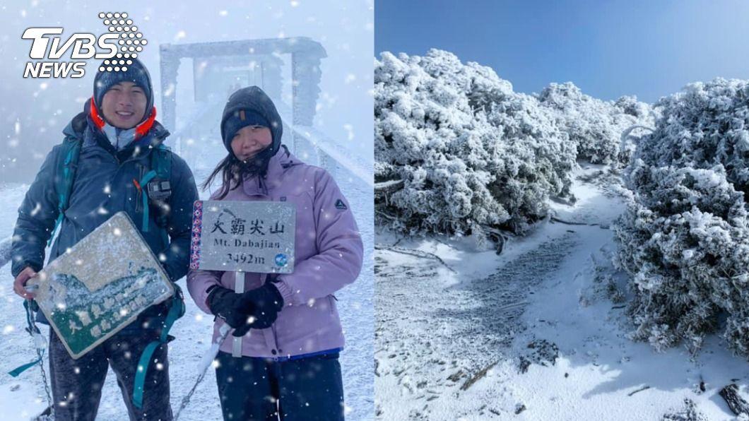 新婚夫妻登百岳甜度蜜月。(圖/林勵彣授權提供) 寒冬降雪愛火不滅 新人蜜月攻雪霸3天狂操60公里