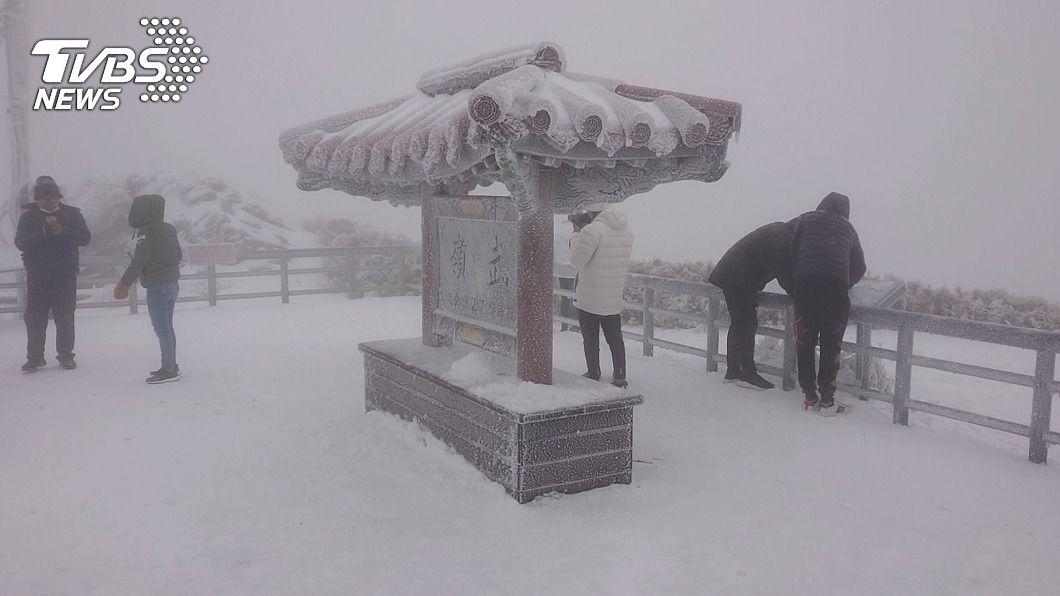 合歡山創入冬以來最大積雪量。(圖/中央社) 寒流持續發威 合歡山再創入冬最大積雪量