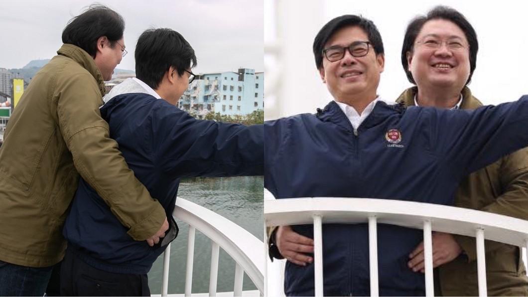 基隆市長林右昌和高雄市長陳其邁日前合體上演《鐵達尼號》經典場面,希望能夠促進雙城間的觀光。(圖/翻攝自林右昌、陳其邁臉書) 觀點/施政滿意度比韓國瑜還低 他諷:陳其邁該被罷免