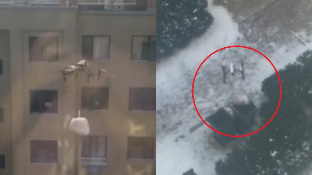 男子操作無人機來投放垃圾。(合成圖/翻攝自半島晨報) 疫情加劇被隔離 工程師開無人機「丟垃圾」