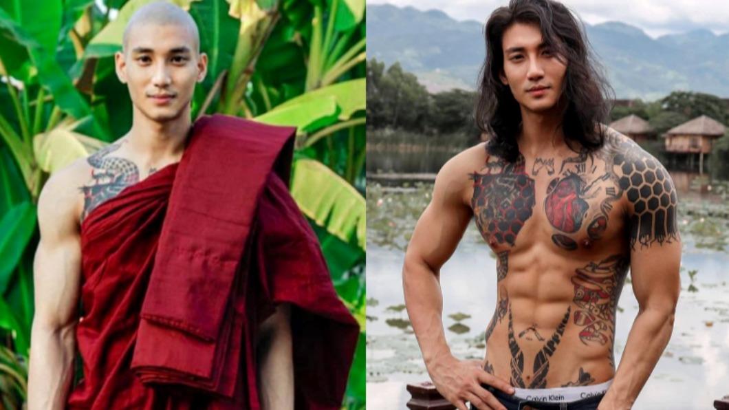 緬甸男模Paing Takhon被封為「地表最帥和尚」。(合成圖/翻攝自paing_takhon IG) 地表最帥僧侶!188天菜男模出家 女粉瘋了:帶我一起