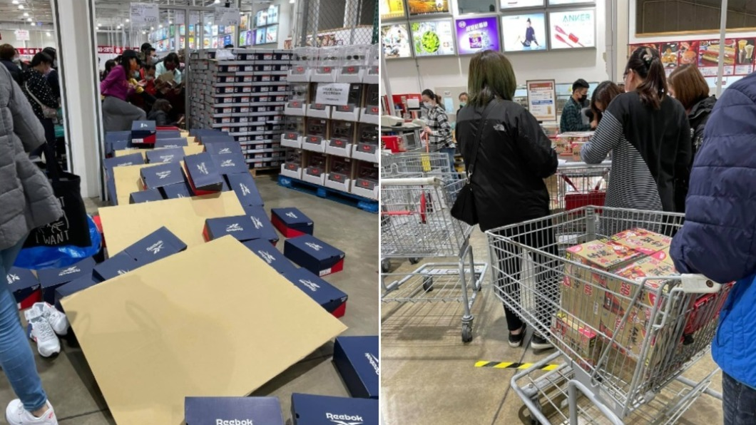 民眾搶購暖暖包,現場一片狼藉。(圖/翻攝自臉書社團「COSTCO 好市多 消費經驗分享區」) 瘋搶暖暖包「人被壓倒」! 好市多1分鐘貨架全空