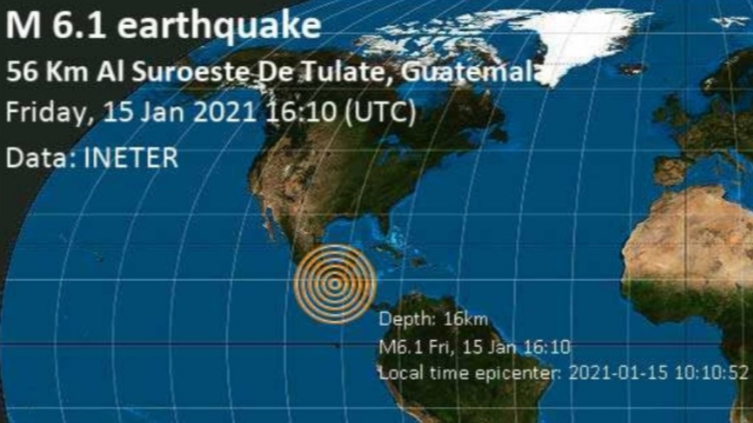 瓜地馬拉遭6.1強震侵襲 傷亡毀損待確認