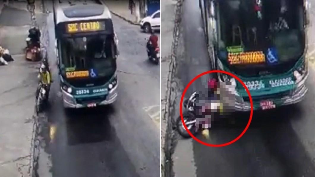 兩人打滑重摔至地面。(圖/翻攝自《WebTv Araguari》YouTube) 蛇行鑽車自摔!男目睹女伴遭公車「輾爆頭」奪命影片曝