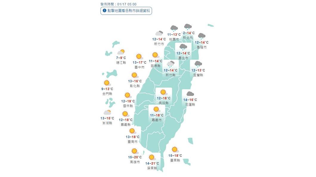 北台灣降9度 基宜、北山區防大雨