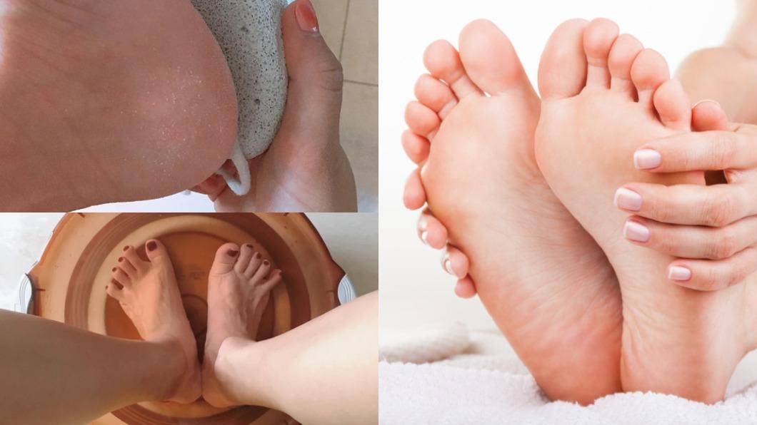 適時的保養腳部能避免腳跟龜裂。(圖/翻攝自Catherinecccccc小紅書、shutterstock達志影像) 和粗糙龜裂腳跟說掰掰 省錢1招立刻喚回Baby嫩腳