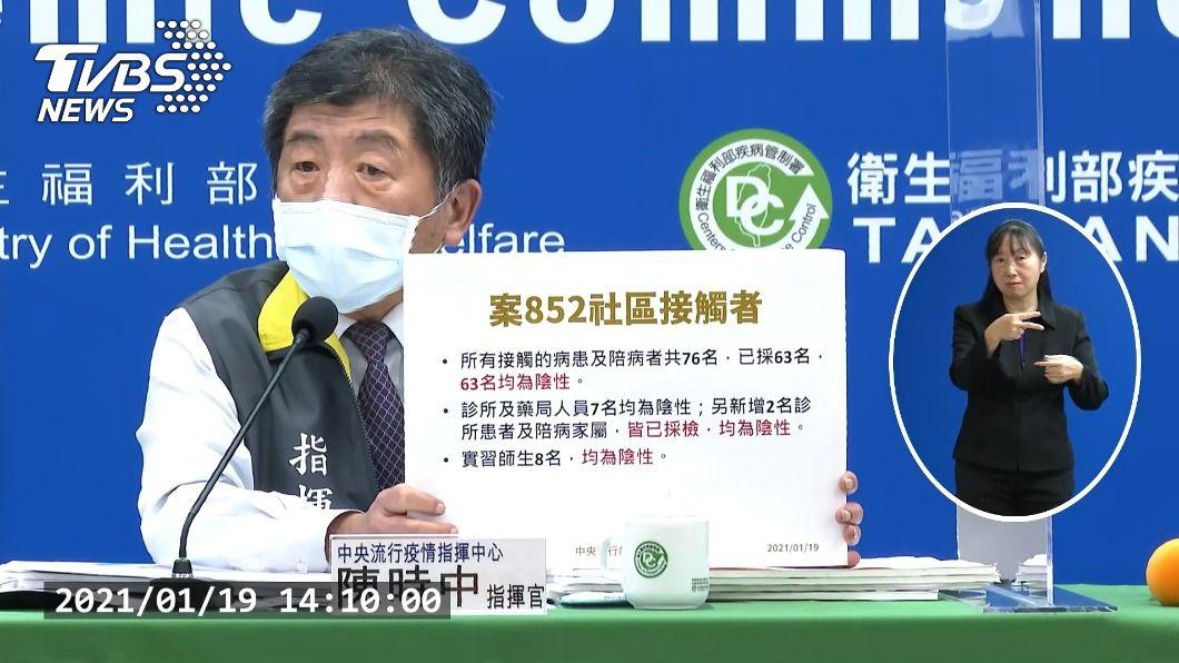 指揮中心記者會。(圖/TVBS) 案852護理師社區接觸者76人 採檢63人陰性