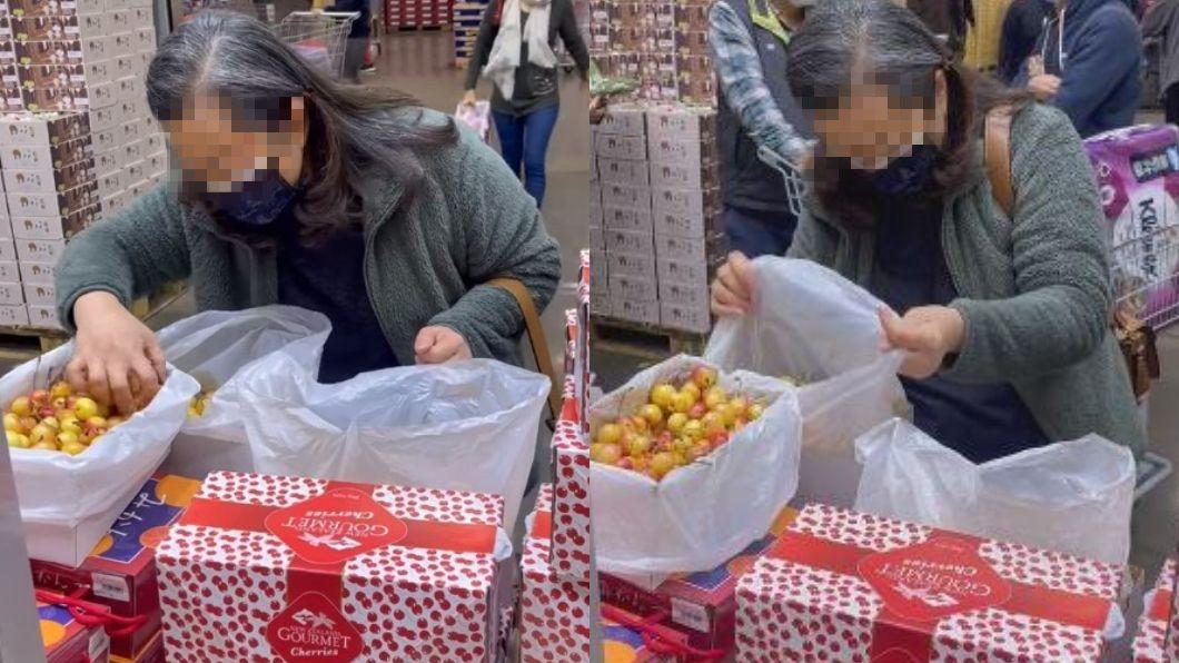 大媽打開櫻桃盒子,把手伸進去東挑西撿。(圖/翻攝自爆怨公社) 大媽挑櫻桃「徒手狂翻攪」 網怒:難怪常買到壞的
