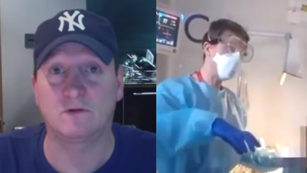 醫護人員勸告男子反遭惡言相向。(圖/翻攝自Tobe Hayden Leigh Youtube、 Tariq Jennerwjo推特) 拒戴口罩闖ICU 英男譙「病毒不存在」帶走重症患