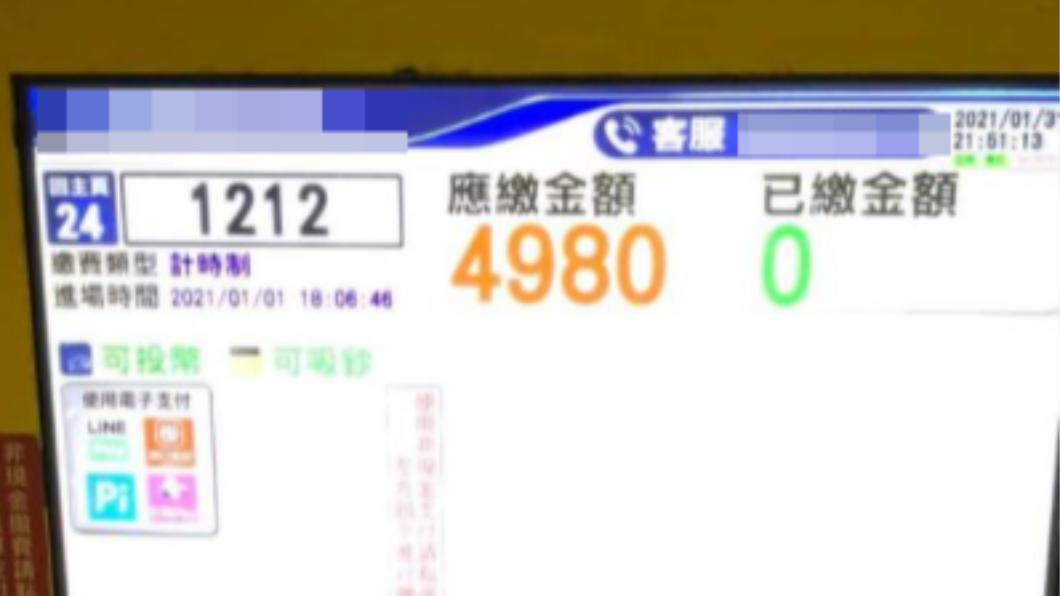 繳費機螢幕上顯示「應繳金額4980」的停車價格。(圖/翻攝自「爆廢1公社」臉書) 高雄停車需繳4980元 車主嚇:停不到3個小時