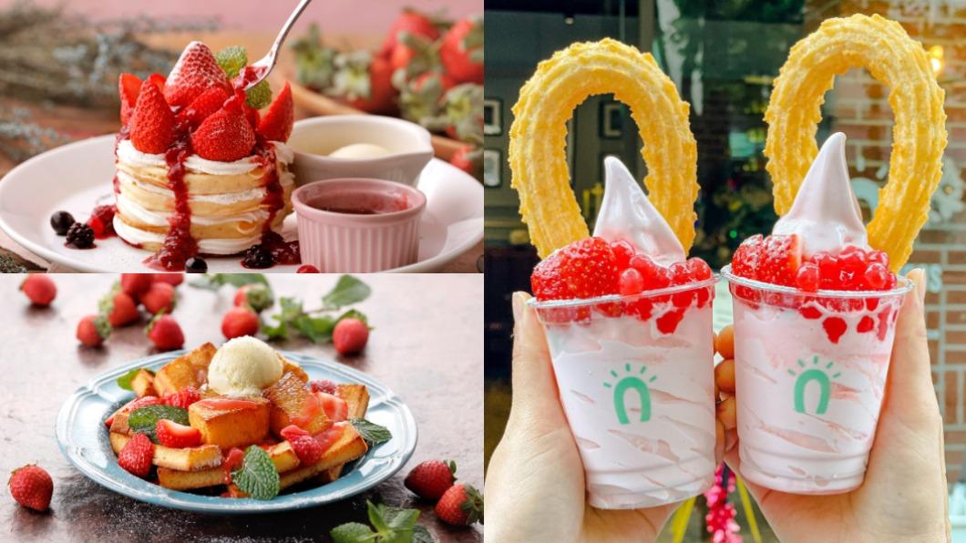 店家推出草莓季限定商品。(合成圖/翻攝自杏桃鬆餅屋、石壁家SPIGA、Street Churros吉那圈咖啡 臉書) 2021必吃! 6款「草莓季」限定夢幻甜點報你知