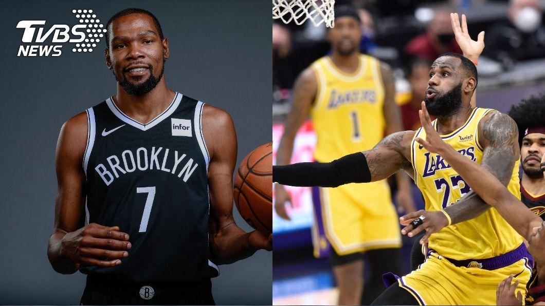 NBA明星賽票選,杜蘭特、詹姆斯票數領先。(合成圖/達志影像路透社) NBA明星賽票選 杜蘭特、詹姆斯暫時領先