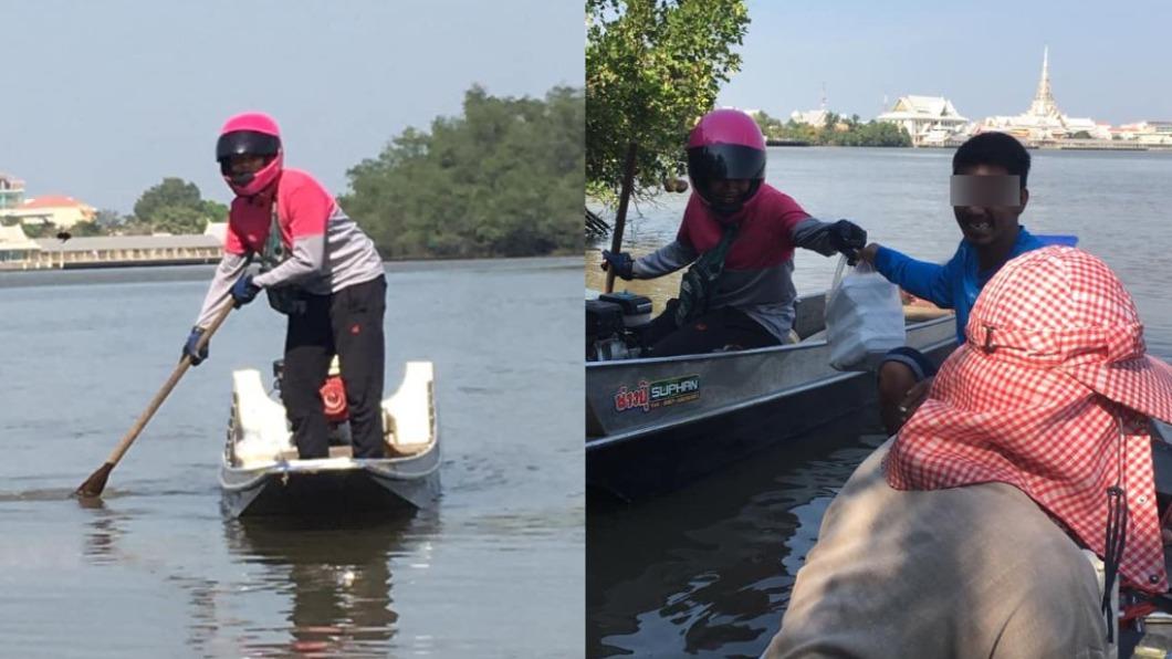 泰國水上外送員一夕爆紅。(圖/翻攝自Pradit Saengdee臉書) 超狂外送員划船「水上送餐」 泰網友笑:騎車已過時
