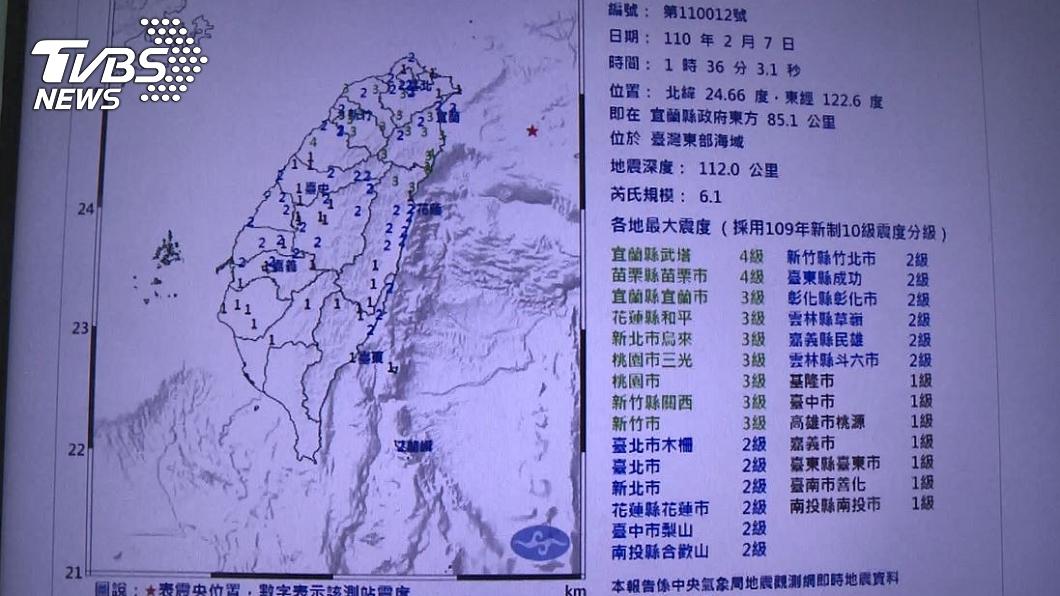 7日凌晨1時36分的芮氏規模6.1有感地震。(圖/TVBS) 才預言「除夕前有凶兆」地牛大翻身 命理師再警告