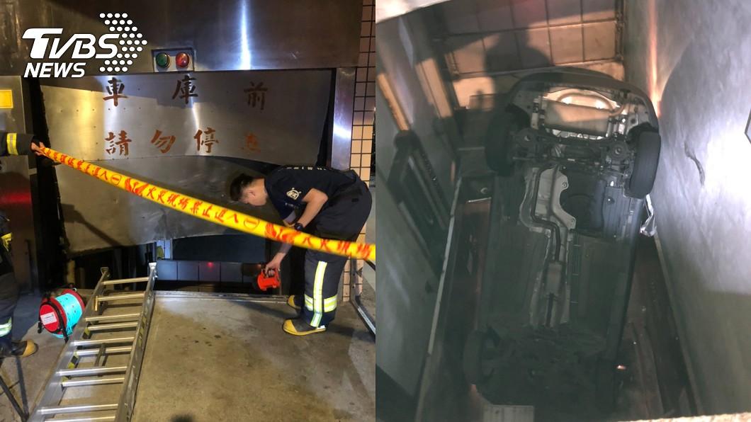 (圖/TVBS) 小客車疑暴衝駛入機械式停車場 駕駛乘客墜6米深地下室