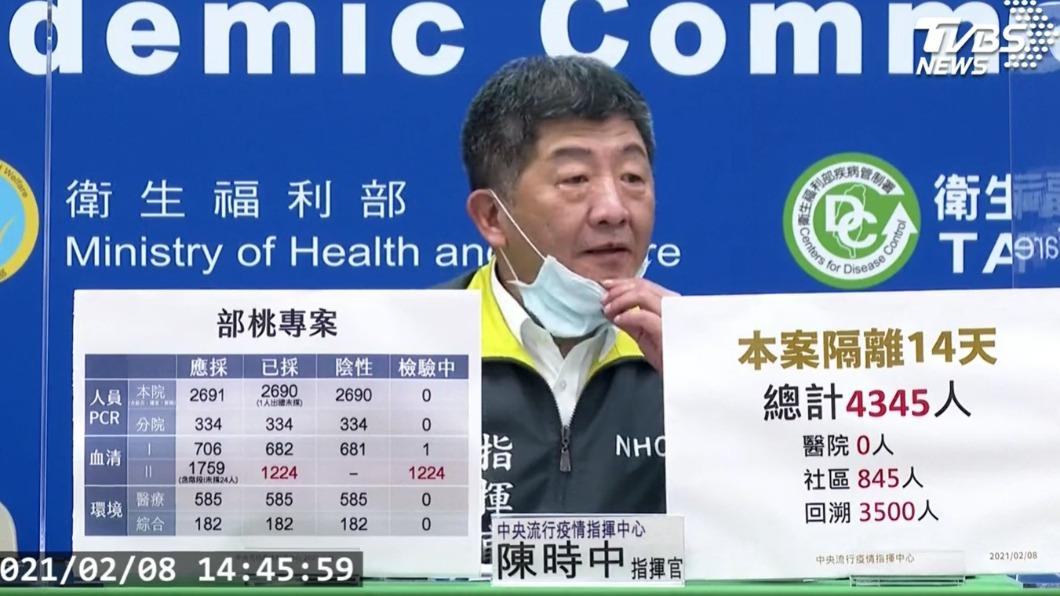 陳時中拉下口罩,被名醫發現疑似罹患唇皰疹。(圖/TVBS) 陳時中記者會突拉下口罩 名醫見「病徵」急喊:快休息