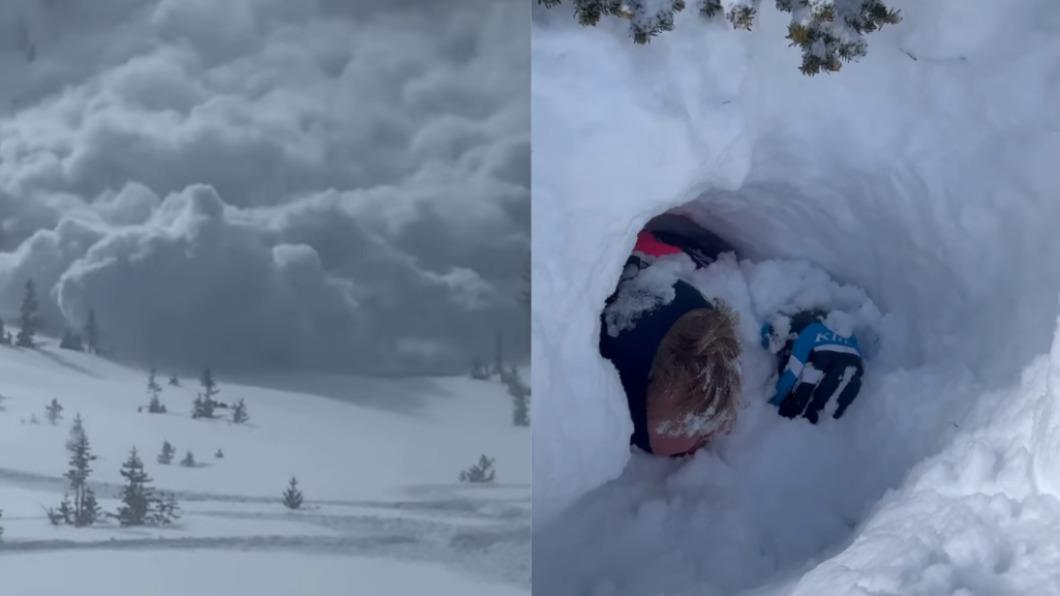 美國6名滑雪客遊玩期間遇雪崩。(圖/翻攝自Miles Penrose臉書) 雪崩直衝10秒悚吞4人!美滑雪客徒手救活埋同伴