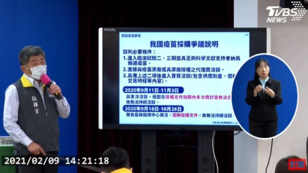 陳時中說明疫苗採購內幕。(圖/TVBS) 陳時中首揭疫苗採購內幕 雅各臣比東洋「更早破局」