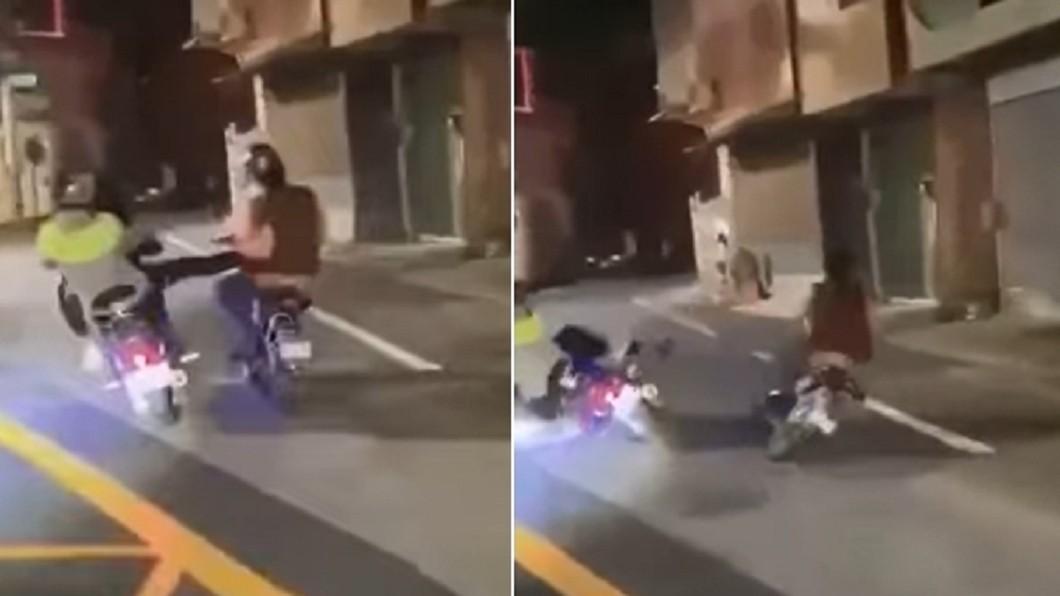男子在踢人後自摔。(圖/翻攝自台南爆料公社臉書) 台南2男伸腳踹移工 下秒「自摔雷殘」遭機車狠壓