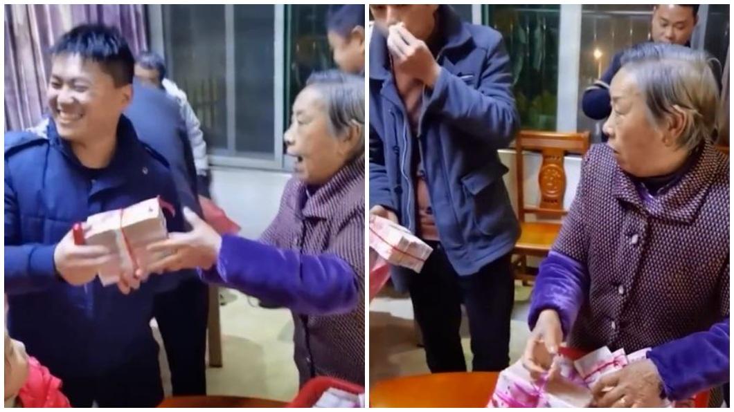 大陸江西南昌一名老奶奶發紅包給晚輩,她準備了一疊疊的鈔票磚發送。(合成圖/翻攝自微博) 陸超狂嬤用「鈔票磚」發紅包 網暴動:還缺孫子嗎?