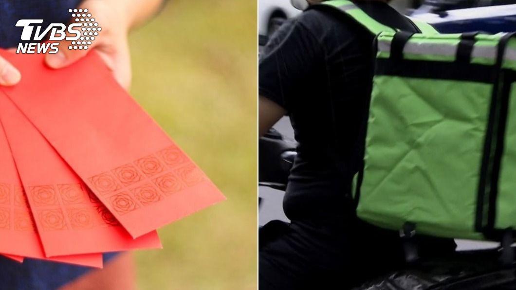 外送員春節送單收到大金額紅包。(示意圖/shutterstock達志影像、TVBS資料畫面) 春節跑單竟收「LV紅包」 外送員淚謝天使客人