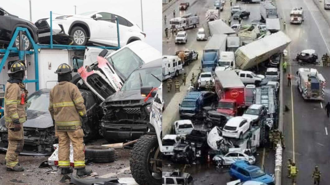 美國德州發生一起嚴重連環撞車禍。(圖/翻攝自FortWorthFire、stereo100xela推特) 133車連環撞!美洲際公路結冰釀6死65傷淪廢車場